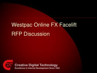 Westpac Online FX Facelift RFP Discussion