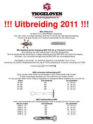 !!! Uitbreiding 2011 !!!