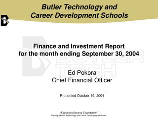 Finance and Investment Report  for the month ending September 30, 2004