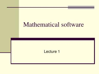 Mathematical software