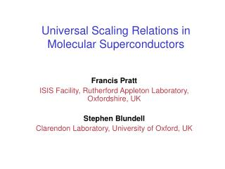 Universal Scaling Relations in Molecular Superconductors