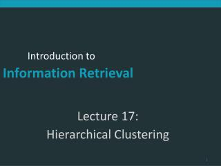 Lecture 17:  Hierarchical Clustering