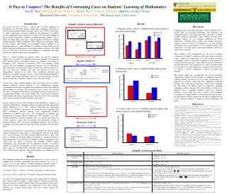 It Pays to Compare The Benefits of Contrasting Cases on Students  Learning of Mathematics Jon R. Star1, Bethany Rittle-J