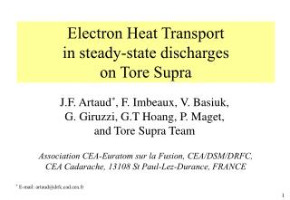 Electron Heat Transport  in steady-state discharges  on Tore Supra