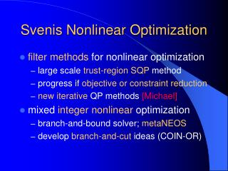 Svenis Nonlinear Optimization
