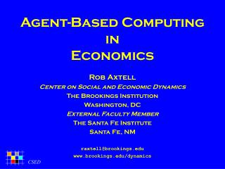 Agent-Based Computing in Economics