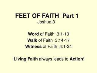 FEET OF FAITH  Part 1 Joshua 3