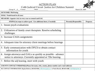 ACTION PLAN Cobb Judicial Circuit  Justice for Children Summit