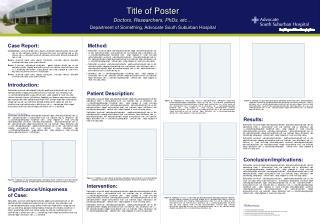 Title of Poster  Doctors, Researchers, PhDs, etc…