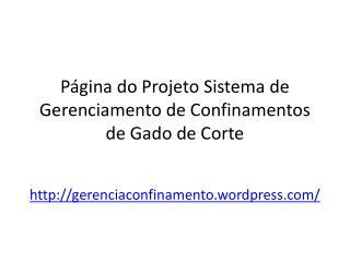 Página do Projeto Sistema de Gerenciamento de Confinamentos de Gado de Corte