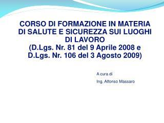 A cura di Ing. Alfonso Massaro