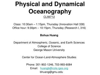 Physical and Dynamical Oceanography