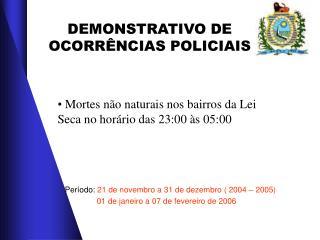 DEMONSTRATIVO DE OCORRÊNCIAS POLICIAIS