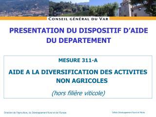 MESURE 311-A  AIDE A LA DIVERSIFICATION DES ACTIVITES NON AGRICOLES (hors filière viticole)