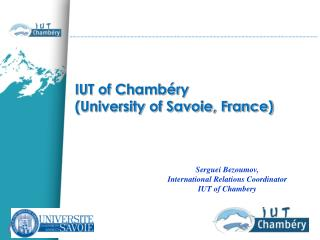 IUT of Chambéry  (University of Savoie, France)