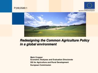 Redesigning the Common Agriculture Policy  in a global environment