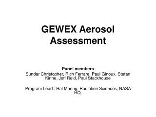 GEWEX Aerosol Assessment