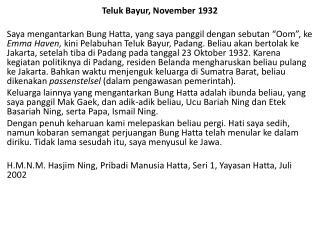 Teluk Bayur, November 1932