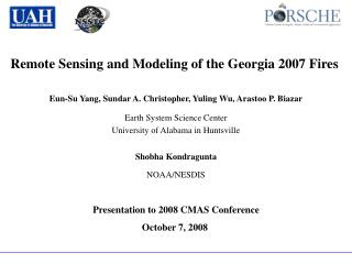 Remote Sensing and Modeling of the Georgia 2007 Fires