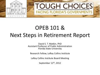 OPEB 101 & Next Steps in Retirement Report