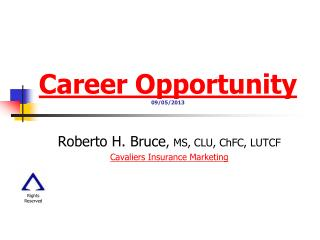Career Opportunity 09/05/2013
