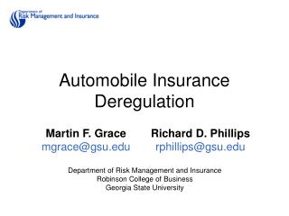 Automobile Insurance Deregulation