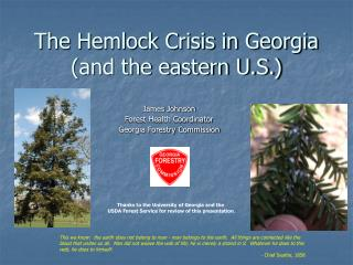 The Hemlock Crisis in Georgia (and the eastern U.S.)