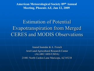 Estimation of Potential Evapotranspiration from Merged CERES and MODIS Observations