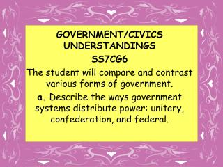 GOVERNMENT/CIVICS UNDERSTANDINGS SS7CG6