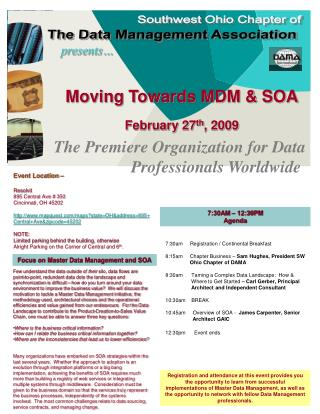 Moving Towards MDM & SOA February 27 th , 2009