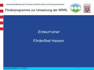 Förderprogramme zur Umsetzung der WRRL