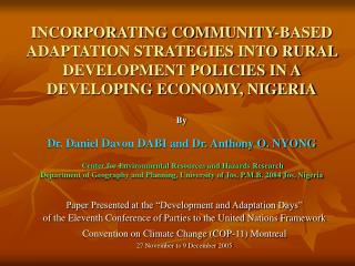 """Paper Presented at the """"Development and Adaptation Days"""""""