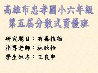 研究題目:有毒植物 指導老師:林欣怡 學生姓名:王良申