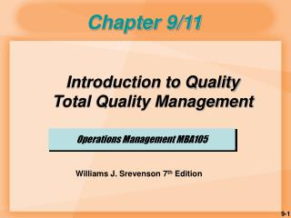 Operations Management MBA105
