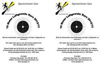10 Meter Luftgewehr Kurs 2012/13