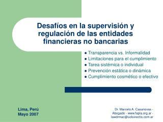 Desafíos en la supervisión y regulación de las entidades financieras no bancarias