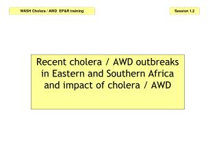 Recent cholera / AWD outbreaks in Eastern and Southern Africa and impact of cholera / AWD