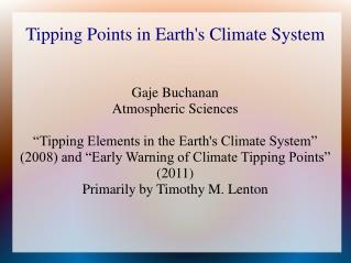 Tipping Points in Earth's Climate System