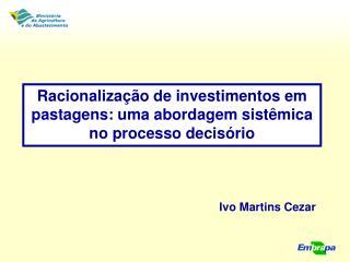 Racionaliza��o de investimentos em pastagens: uma abordagem sist�mica no processo decis�rio