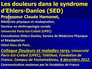 Les douleurs dans le syndrome d�Ehlers-Danlos (SED)