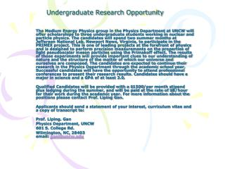 Undergraduate Research Opportunity