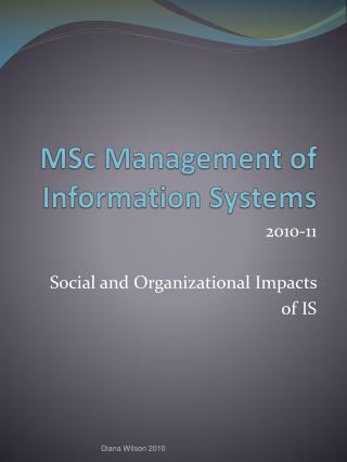 MSc Management of Information Systems