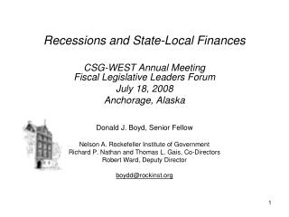 Recessions and State-Local Finances