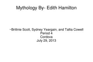 Mythology By- Edith Hamilton
