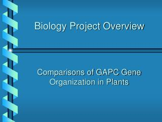Biology Project Overview