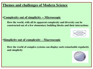 Themes and challenges of Modern Science Complexity out of simplicity -- Microscopic