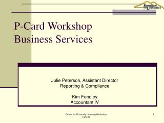 P-Card Workshop Business Services
