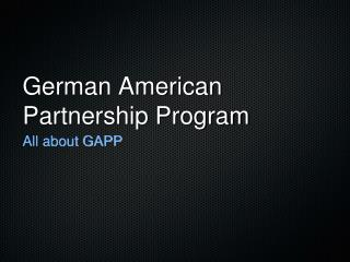 German American Partnership Program