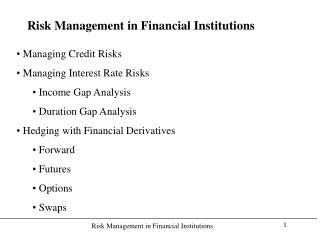 Risk Management in Financial Institutions