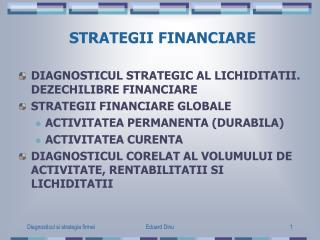 STRATEGII FINANCIARE